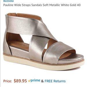 Bussola Pauline Strap Sandal Metallic White Gold